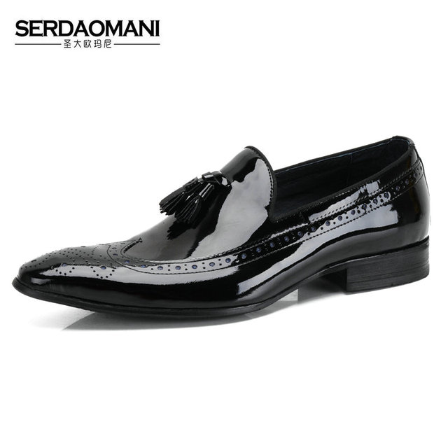 709e0520d22a SERDAOMANI japanned leather pointed toe male genuine leather tassel  breathable shoes mens loafer dress wedding shoes Derby shoes
