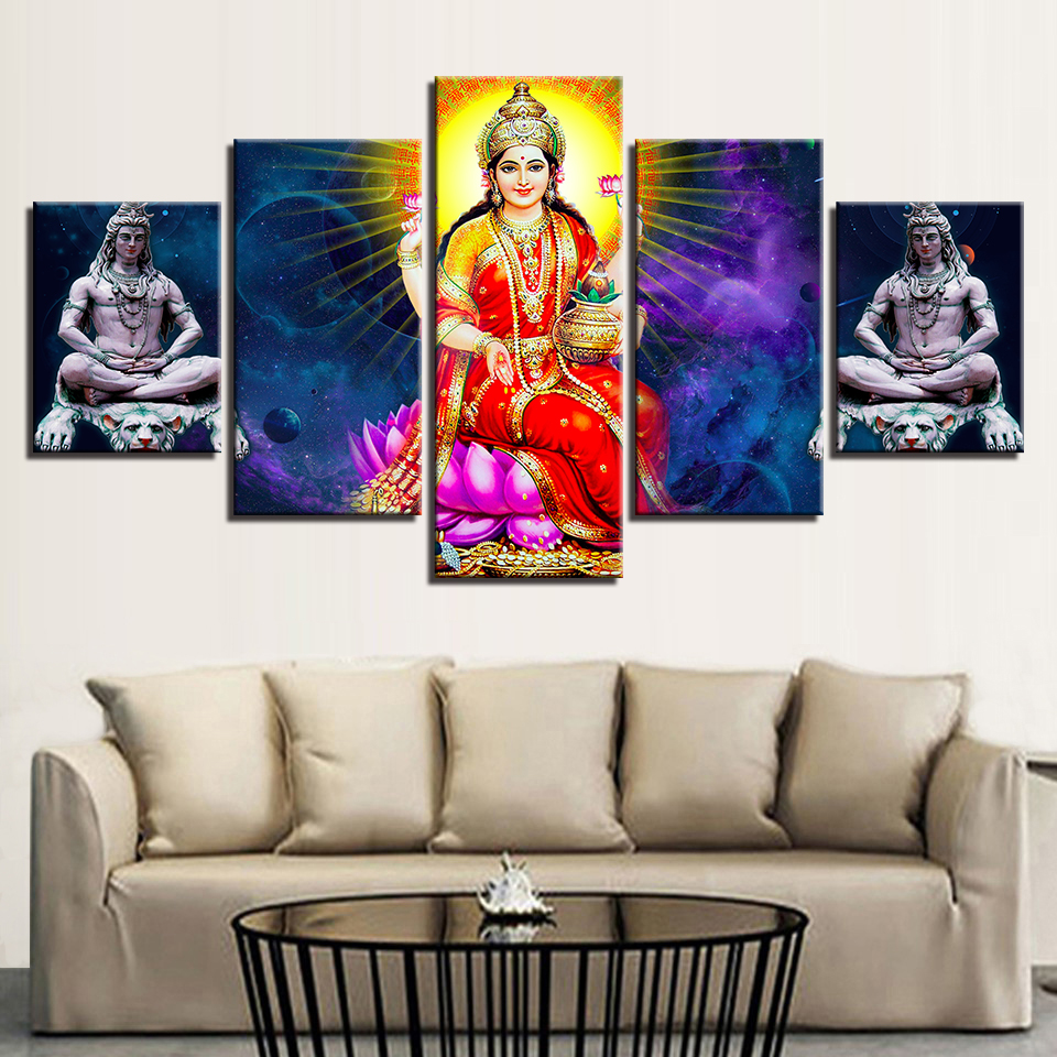 Us 5 93 40 Off Modular Canvas Pictures Home Decor Framework Pieces Lakshmi Paintings Hd Prints India Dess Posters For Living Room Wall Art In