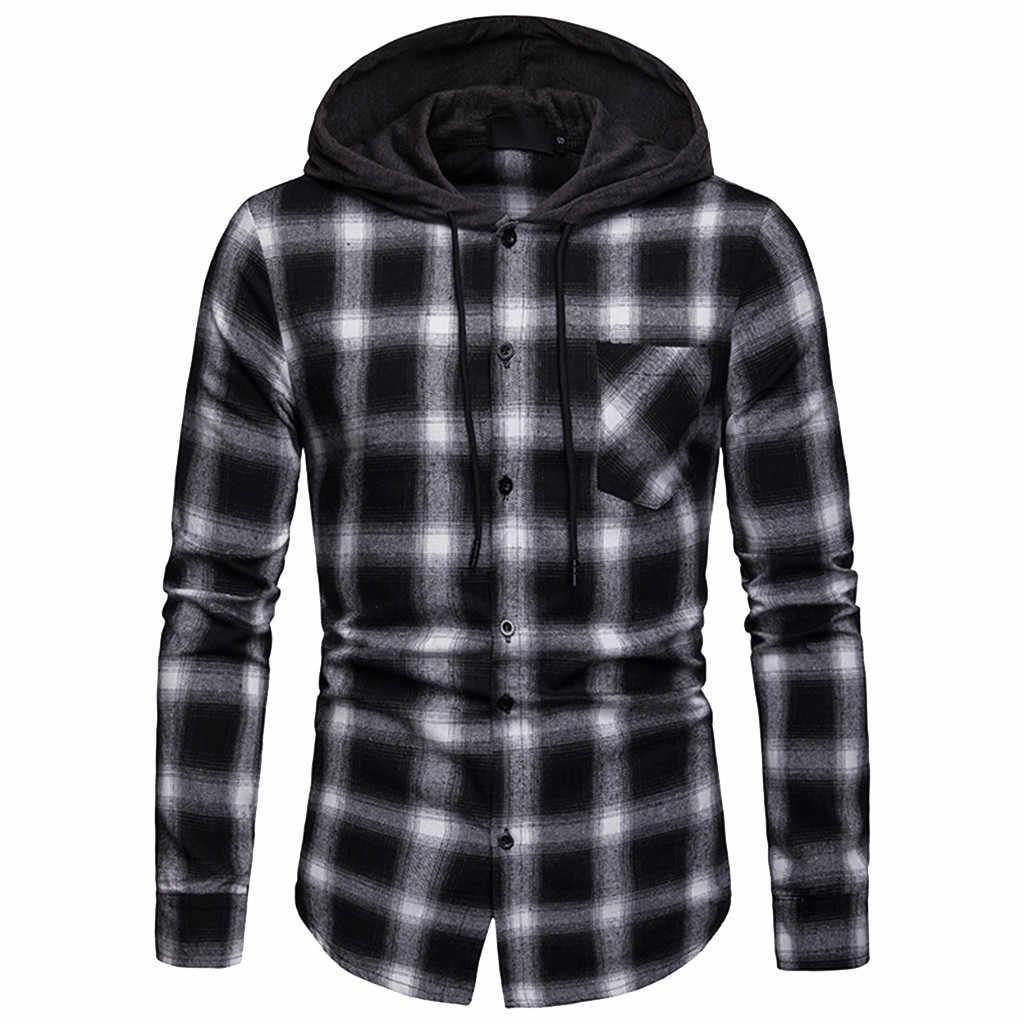 2019 новая классическая клетчатая рубашка Мужская мода с капюшоном Мужские повседневные рубашки весна осень мужская одежда с принтом рубашки хип-хоп Уличная