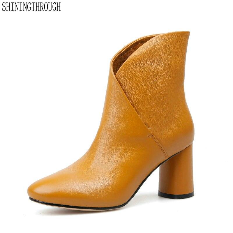 2019 新 8 センチメートルハイヒールの女性のアンクルブーツ本革オフィスの女性ドレス白、黒、黄色大サイズ 42 43  グループ上の 靴 からの アンクルブーツ の中 1