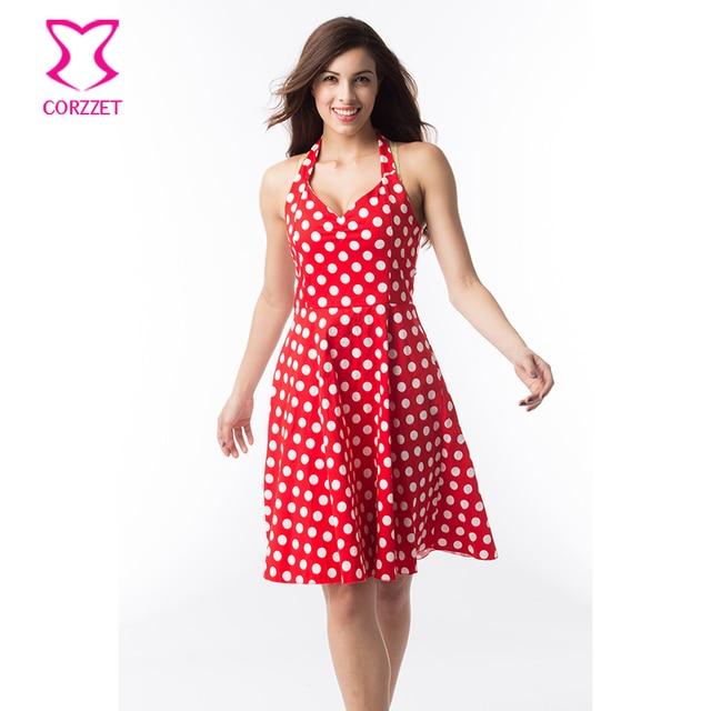 e293d7afa97 Rouge Avec Blanc Polka Dot Imprimer Moyen Longueur Col En V Profond Halter  Sexy Robe Club