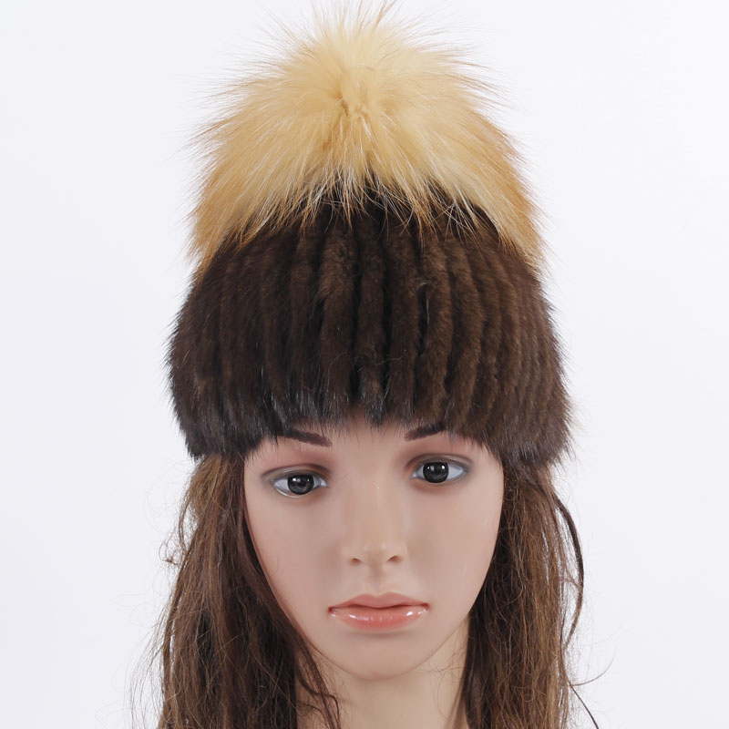 New Fashion hat for winter genuine mink fur skullies with red fox fur top beanies 2017 new hot sale elastic fur cap skullies hot sale candy sets color pointed hat knitting hat sets hat cap 1866951