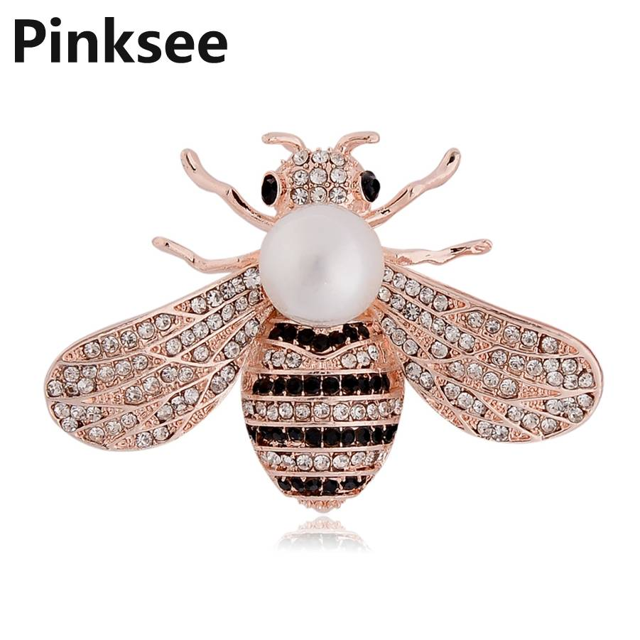 Fashion Cute Bee Black Yellow Crystal Insect Brooches For Women Kids Animal Brooch Jewelry Hijab Pins Party Gifts Accessories