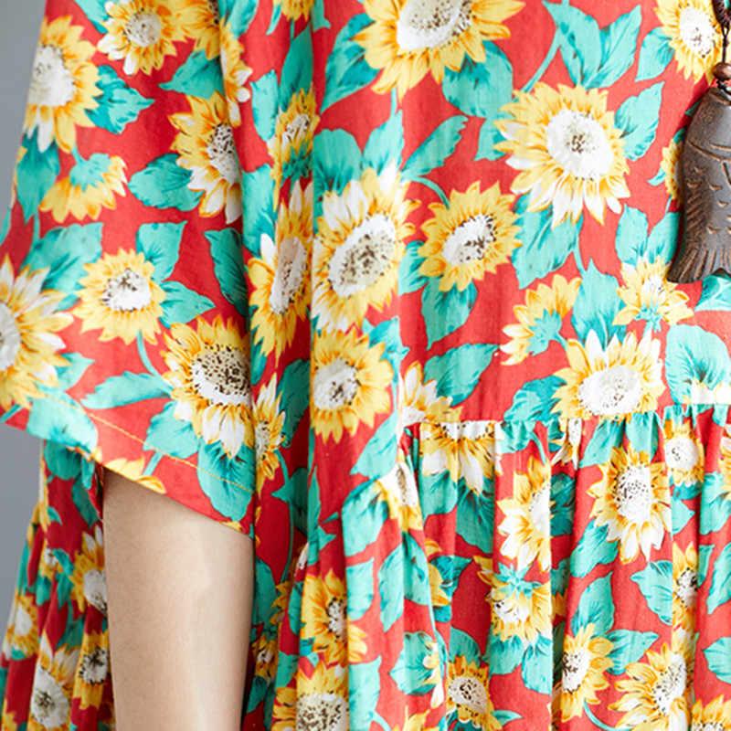 Новинка 2019, корейское летнее платье, повседневное, свободное, с принтом, с круглым вырезом, с коротким рукавом, до середины икры, удобные женские Платья с цветочным принтом