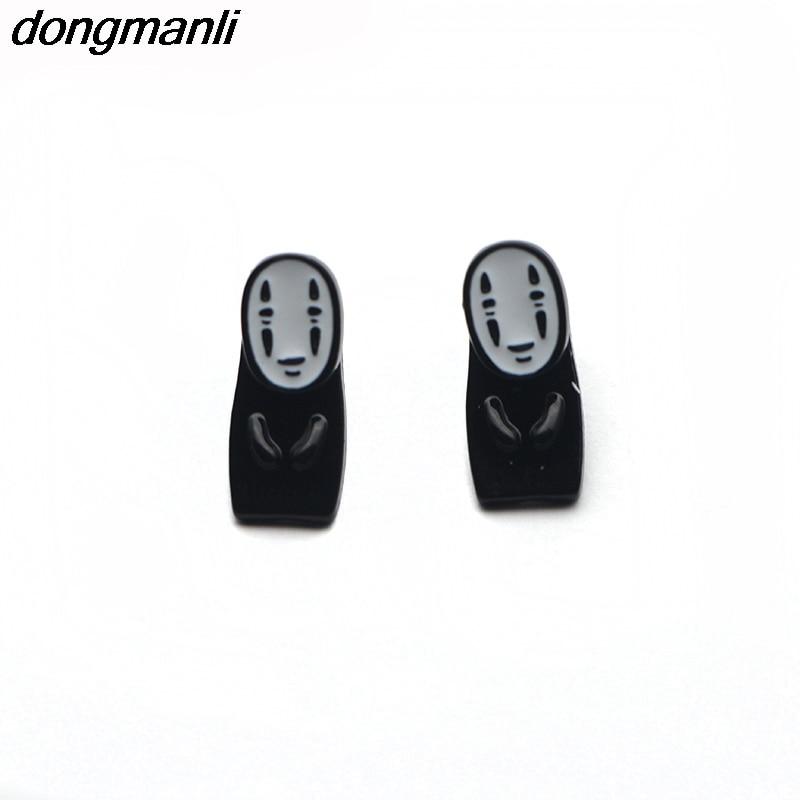 WS1187 Dongmanli Śliczne Emalia Spirited Away No face man kolczyki Miyazaki Hayao Anime kolczyki dla kobiet 2018 biżuteria akcesoria