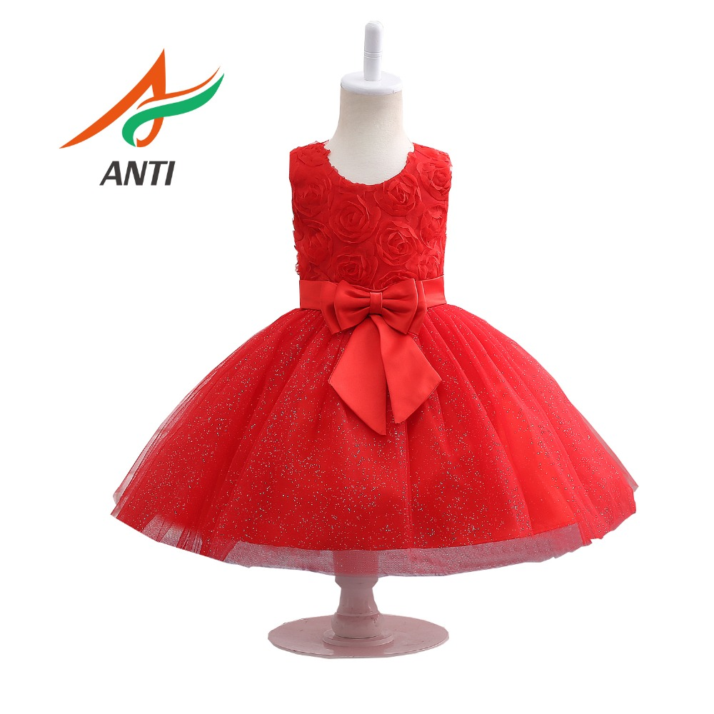 ANTI Red Sleeveless   Flowers     Girl     Dresses   With Sashes Elegant Lace   Flower   Bow First Communion Party Formal   Dresses   for Wedding