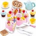 54 unids Pastel de Cumpleaños Bebé Kicthen Juguetes Kids Early Educativo Juego de Imaginación Cocina Juguetes Juguetes De Plástico Para Alimentos