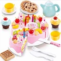 54pcs Birthday Cake Baby Kicthen Toys Kids Early Educational Pretend Play Kitchen Toys Plastic Food Toys