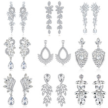 Mecresh European Leaves Long Drop Earrings for Women Silver Color Crystal Hanging Wedding Engagement Jewelry MEH946