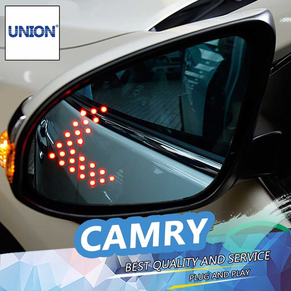 UNION For Camry Blue rearview mirror car styling 2015 2016 For Camry rearview mirror LED turn electric heating no blind spot rearview mirror turn signal light for camry corrola vios 2014 2015 year for car