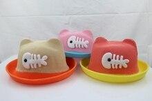 Cute Kids Straw Cool Hat Ear Fish Pattern Beach Brim Beach Travel Hat Sunshade