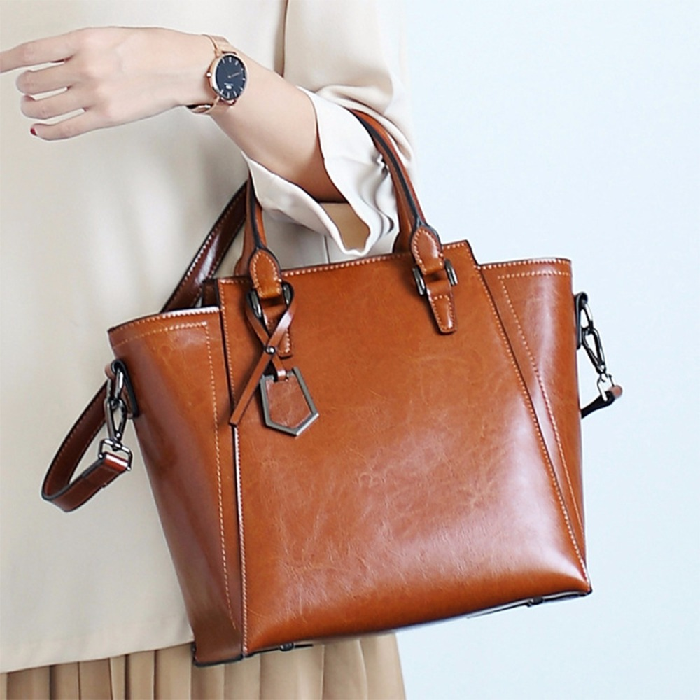 High Quality Cowhide Cross Body Messenger Briefcase Top Handle Bags Fashion Trends Genuine Leather Women Shoulder