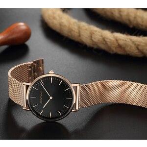 Image 3 - En lüks marka Quartz saat erkek gül altın japonya paslanmaz çelik tel örgü bant kol saati ultra ince saat erkek yeni ahşap yüz
