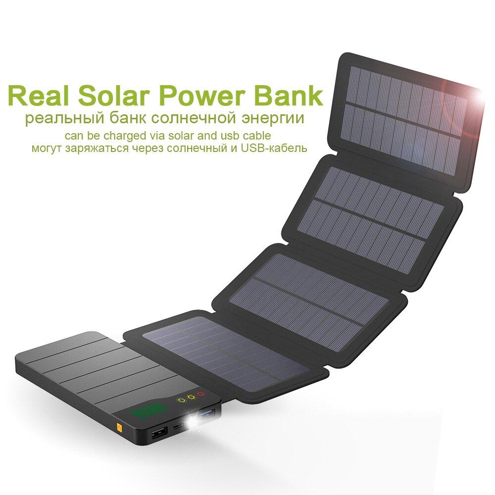 Solaire Power Bank 6 w Solaire Panneau 10000 mah Réel Solaire Powerbank pour iPhone X Samsung Galaxy Note Huawei Honor oppo Vivo.