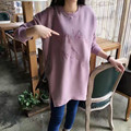 Mulheres Blusas Blusas Venda 2017 Novo Mais Grossa De Veludo Camisola No Longo Parágrafo Letras Bordado Simples Mulheres de Grande Porte