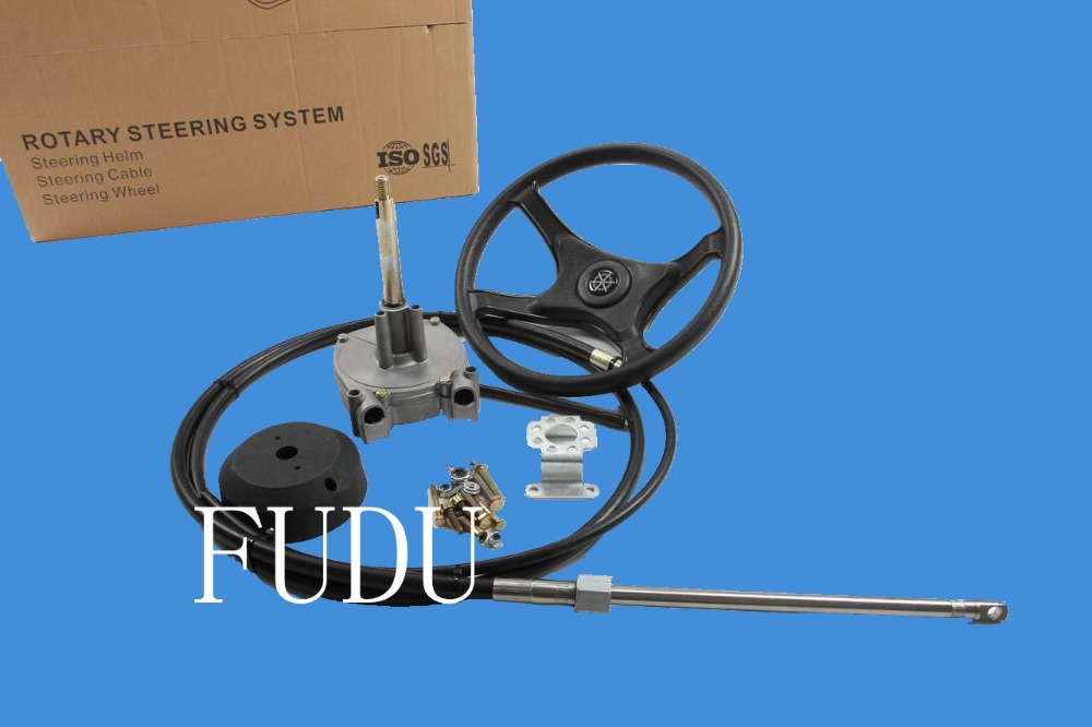 10ft Cable Rotary Steering System Helm Bezel Cable FUDU-7C Marine Steering System With Plastic Steering Wheel