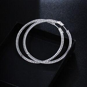 Image 4 - Recomendar 56mm grande real prata esterlina argola brinco micro pavimentar pequena zircônia jóias grande 925 círculo