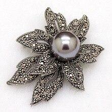 Cosecha De Perlas Broches Para Mujeres Regalos Del Partido Antiguo Color de Plata broche de la flor del hijab pins Y Broches joyería de Accesorios Sombreros