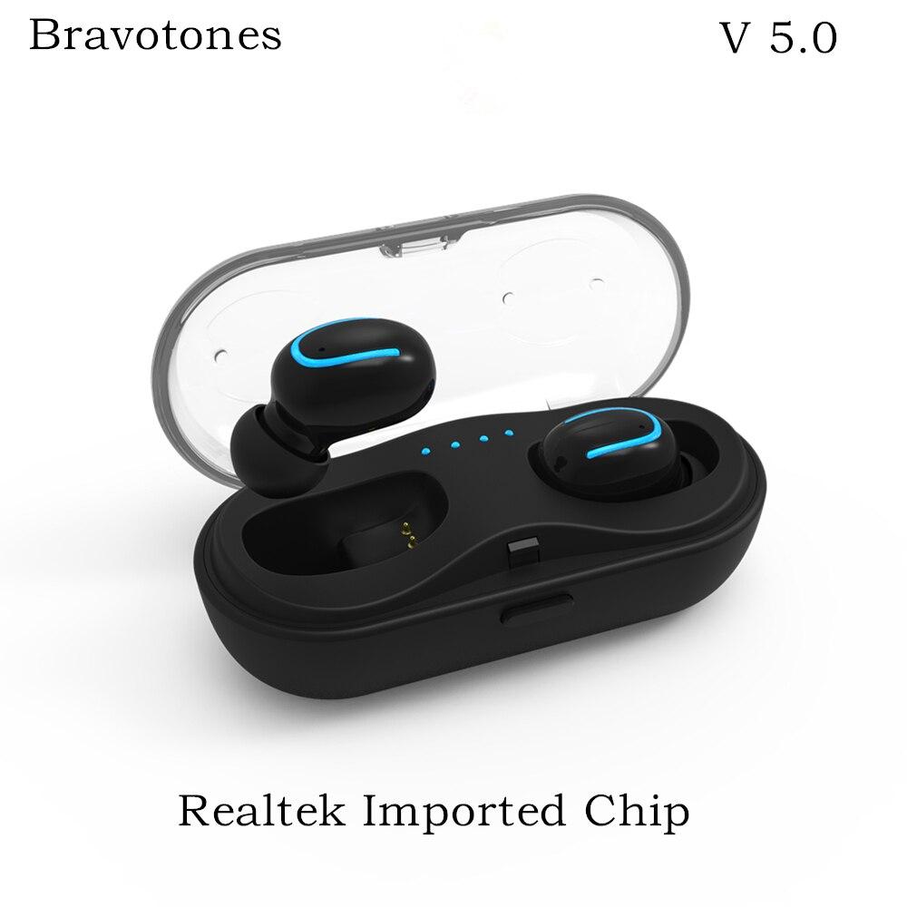 V5.0 True Беспроводной наушники мини спорта Bluetooth наушники Встроенный микрофон HD стерео гарнитура с зарядки чехол для мобильного телефона