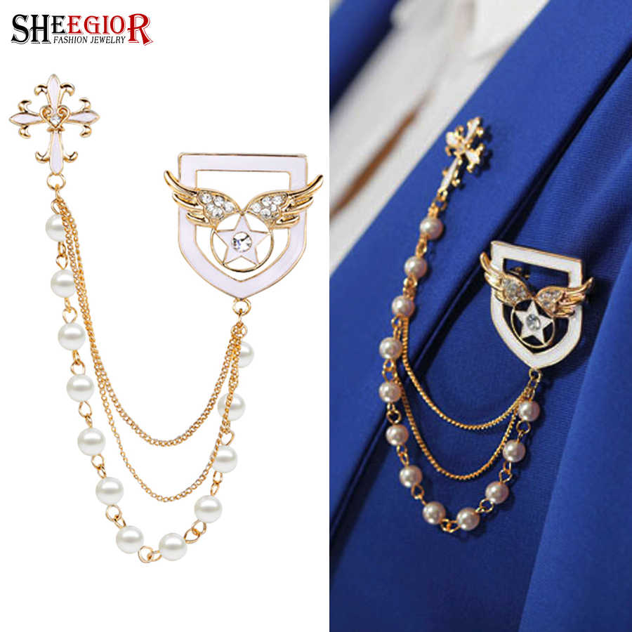 e868a0a9cb1 SHEEGIOR Gold Tassel Chains Brooch Pins Men Badge Fashion Jewelry Lovely  Cross Angel Wings Collar Brooches