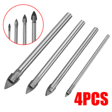 4 Piece Glass Mirror Drill Bit Tile Ceramic Drill Chuck Opener Bits Alloy Metal Drilling Head Tools Set 3mm 5mm 6mm 8mm [sds max] 35 400mm 1 4 alloy ncctec wall core drill bits ncp35sm400 for bosch drill machine free shipping tile coring pits