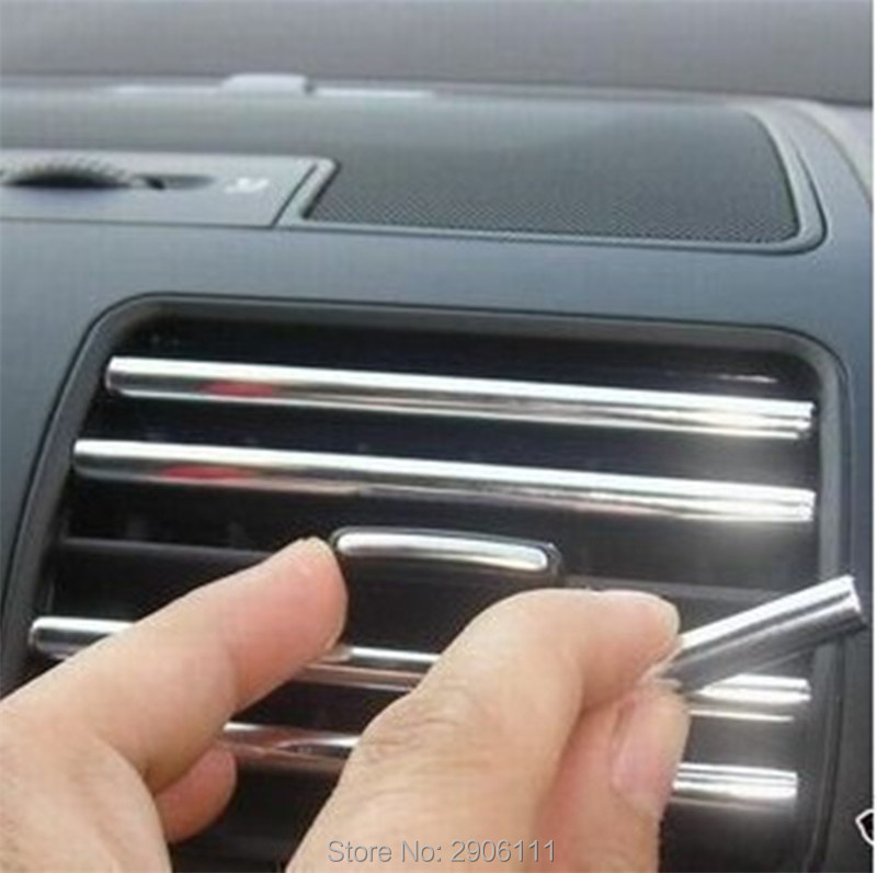 3M U Style decoration strip Grille Chrome car Automotive air conditioning outlet for Cadillac srx cts ats escalade sts dts bls