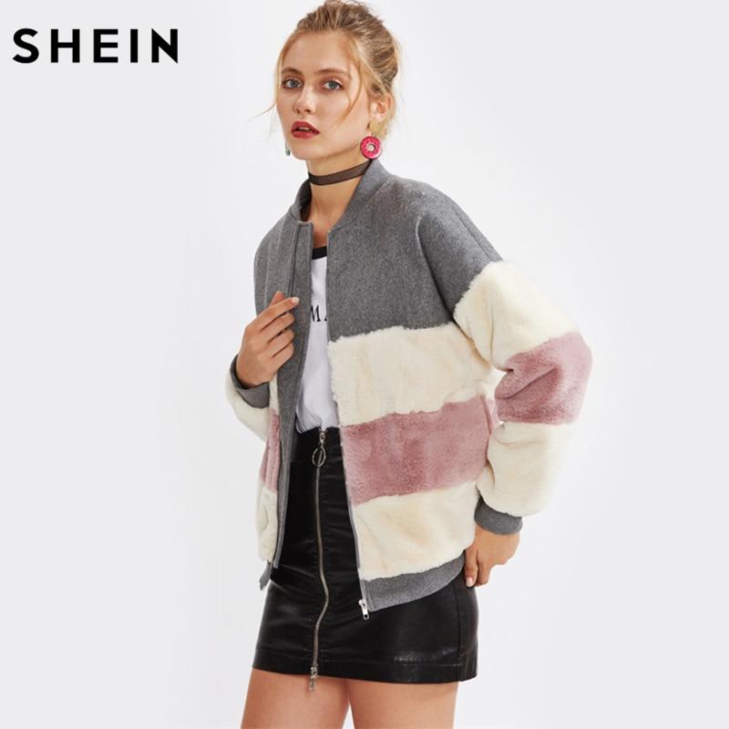 SHEIN Color Block Faux Fur Panel Jacket Fall Winter Coat Women Stand Collar Zipper Woman Winter