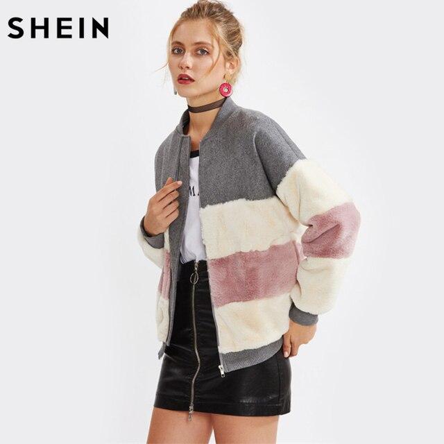 € 55.5 |SHEIN Couleur Bloc Faux Panneau De Fourrure Veste Automne Hiver Manteau Femmes Col montant Zipper Femme Manteaux D'hiver et Vestes dans de sur