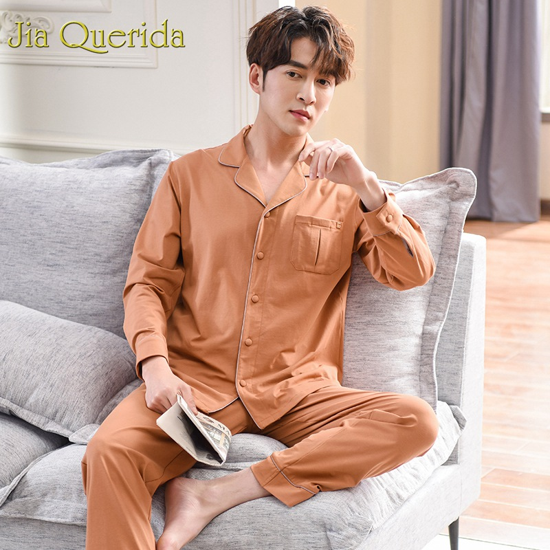 J&Q High Quality Brandy Mens Pajama Set 2019 New Fashion 100% Cotton Solid Men's Sleepwear Long Sleeves Pants Lapel Pyjamas Male