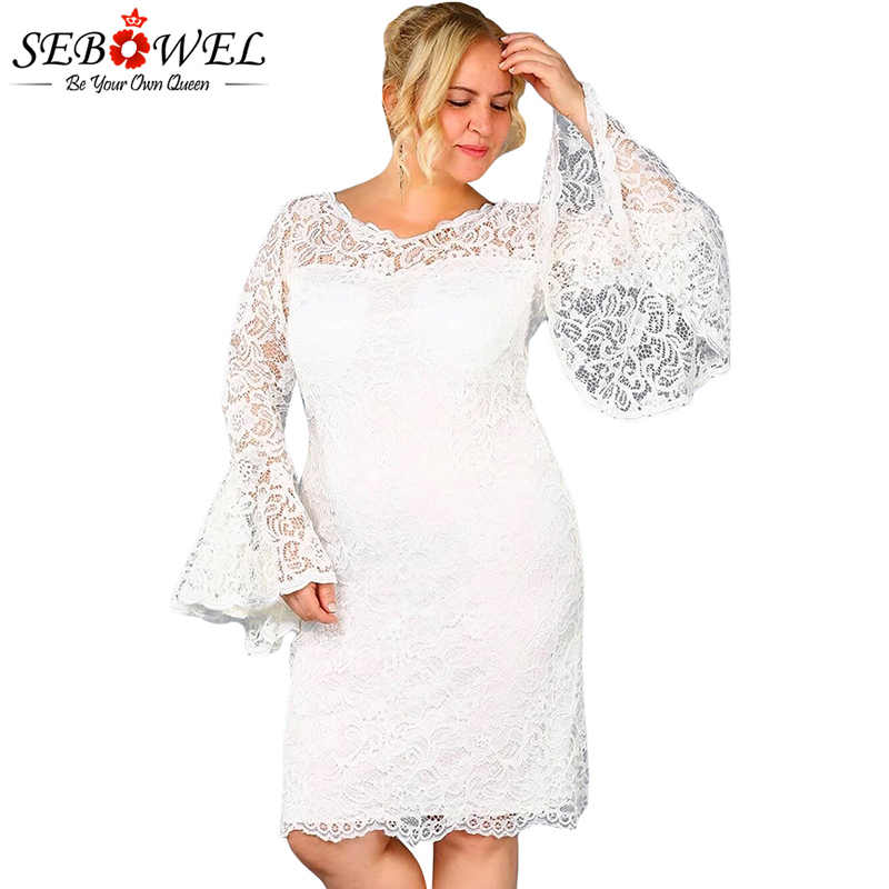 8b094cd5267ea SEBOWEL Plus Size Sexy Black Lace Dress Women Elegant Floral Lace Party  Dress Big Size Female Long Sleeve Lace Evening Gown 5XL