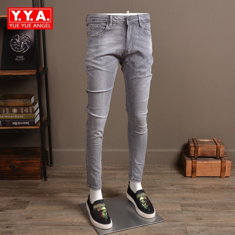 European Style Vintage Slim Fit Jeans Men Stretch Denim Pants Spring Mens Solid Long Jeans Casual Trousers for Male Light Grey ...