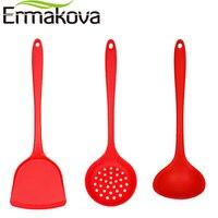 ERMAKOVA 3 Pcs Set Non Stick Silicone Turner Spatula Skimmer Spoon Soup Ladle Heat Resistant Kitchen