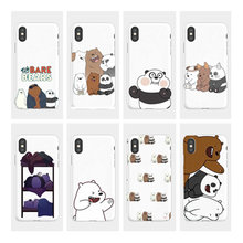 We Bare Bears Cute Cartoon Soft phone Ivory white Matte TPU Back Cover Case For iphone 4 5 6 7 8 PLUS X Fundas Coque(China)