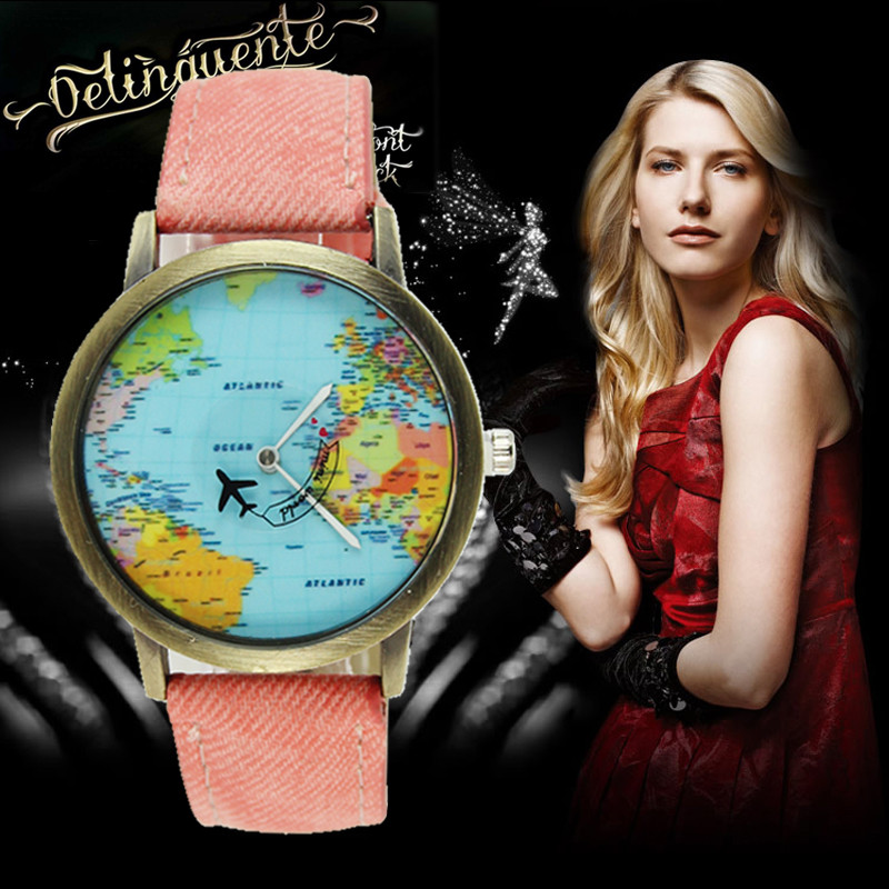 Women Watches Mini World Fashion Quartz Watch Men Unisex Map Airplane Travel Around The World Women Leather Dress Wrist Watches mini world mn202