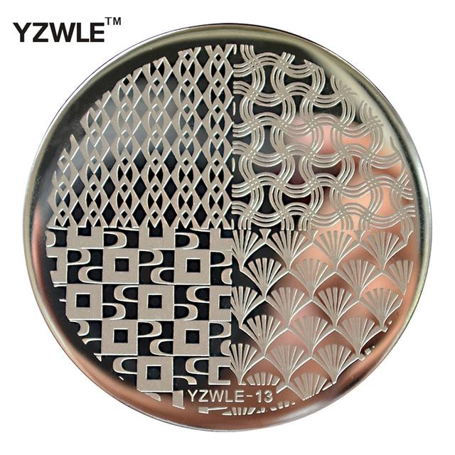 YZWLE 1 Hoja Nail Art Stamping Placa de la Imagen, 5.6 cm de Acero Inoxidable Polaco Manicura Plantilla Stencil Herramientas (YZWLE-13)