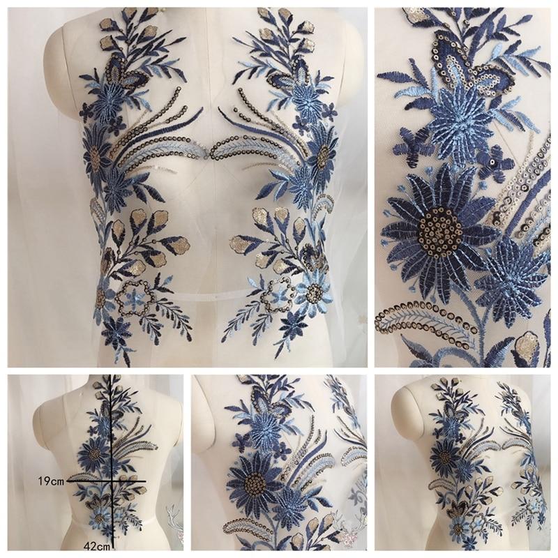 12 Colours 1 Pc 3D Sequin Embroidery Bridal  Motifs Floral  Wedding  Applique