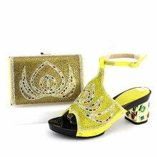 Wonderful yellow women kitten heel shoes with rhinestone for african shoes match handbag set for dress V1-2
