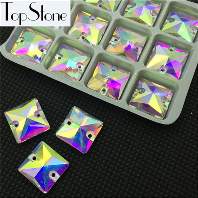 All Sizes Glass Crystal Square shape Sew On Rhinestone crystal Clear AB Color 10mm 12mm 14mm 16mm 22mm Sewing jewelry Beads