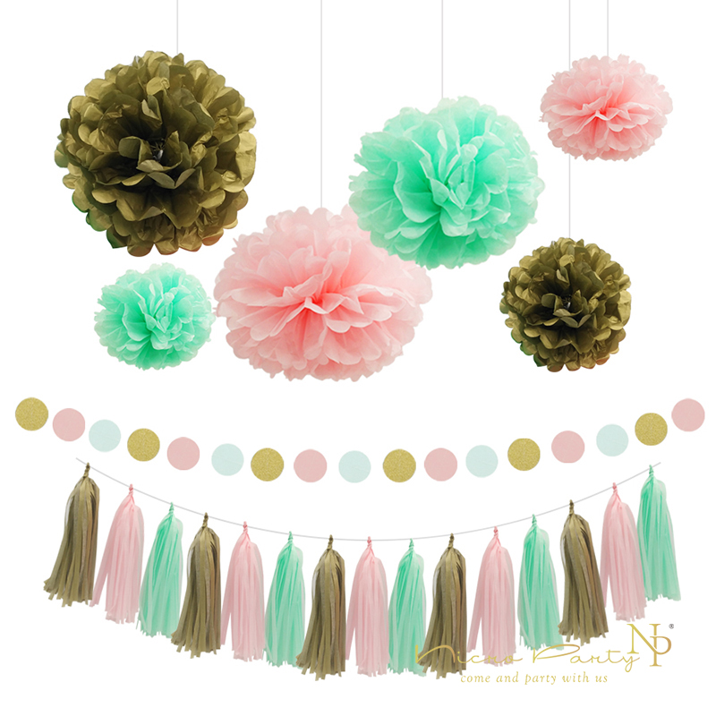 Nicro Mint Πράσινο Καλοκαιρινό Σετ Πάρτι Pom Pom Tissue Paper Tassel Wall Hanging For Summer / Beach Party Decorations 10Pc Set χονδρικής