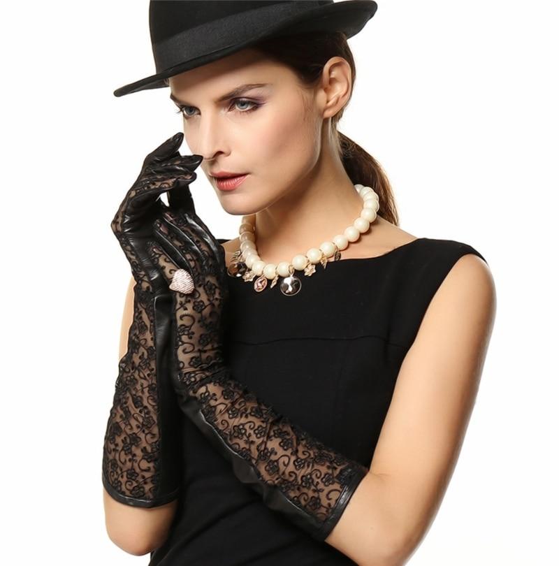 Nouveau hiver véritable Long gant en cuir avec dentelle pour les femmes court mince daim gants élégants Fashion1 paire/Lots XL L M S