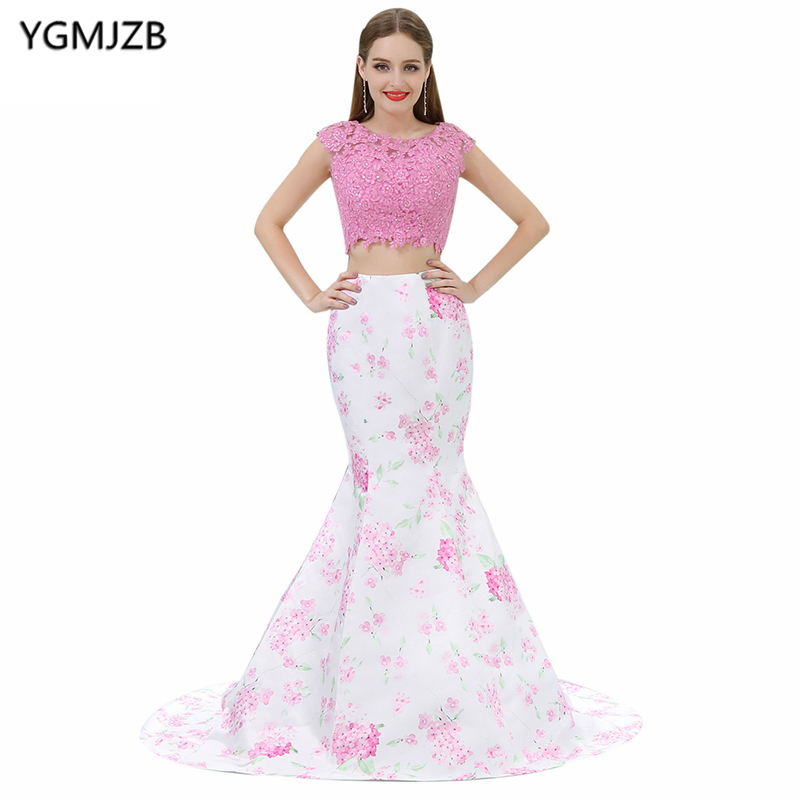 Floral Print   Prom     Dresses   2018 Mermaid Scoop Cap Sleeve Beaded Appliques Pink Two Piece   Prom   Evening Gown Vestido De Festa