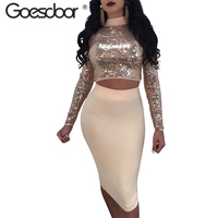 GOESDOOR Sexy Women Sequined Backless Lace Up Crop Top 2 Piece Dress Fashion Ladies Nightclub Two