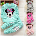 Toddler Baby Girls Cartoon Minnie Mouse Long Sleeve T-shirt+Pants Outfits Set Tracksuit Sportswear 0-4T