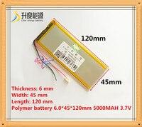 A bateria do íon do lítio do polímero da bateria 3.7 v 5000 mah 6045120 da tabuleta/bateria do li íon para a bateria do pc da tabuleta battery for tablet pc li-ion battery for tablet tablet battery 3.7v -