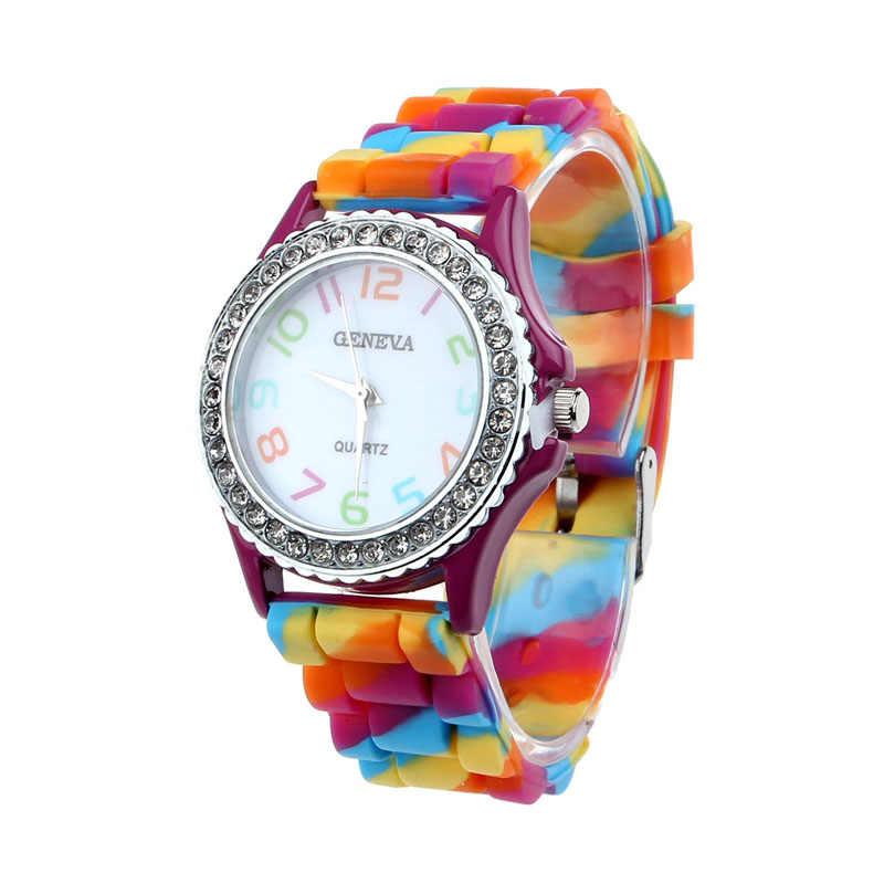 ... 2018 Для женщин часы Женева Силиконовые Кристалл Bling аналоговые  цифровые кварцевые наручные часы новая классика цвет ... 8c6234173a0e3