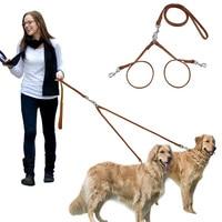 Leather Double Dog Leash Multiple Pet Leading & Double Walking Two Dog Leashes Set for 2 Dogs Medium Large Breeds