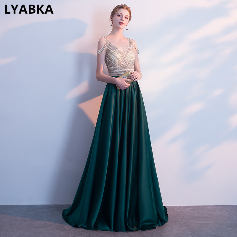 Vestido De Festa A-line Evening Dresses Long V-Neck Dark Green Satin With 6dee6cbf1428