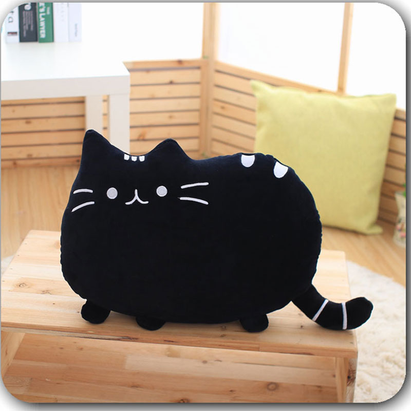 Cat Plush Doll Back Cartoon Cushion Lumbar Decorative Throw Pillow Smiley Face Seat Cushion Stuffed Kids Room Decoration