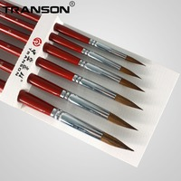 Transon 6PCS Point Tip Weasel Hair Painting Brush Set For Liner Detail Painting Of Oil