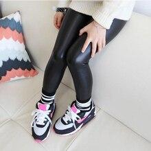 2016 Baby Girl Legging Fashion Full Length Leggings Faux PU Leather Skinny Pants Girl Leggings Children Pants